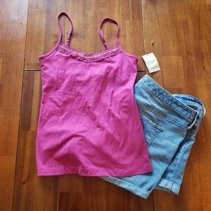 NWT Sonoma Pink Bead and Lace Tank Top